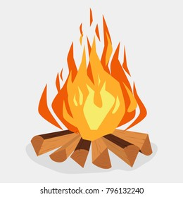 Bonfire cartoon style illustration, camping, burning woodpile, campfire or fireplace Burning on Firewood, Outdoor Tourism. Vector