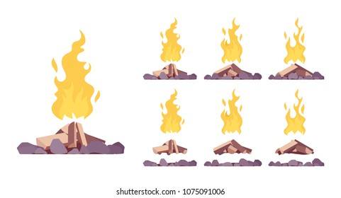 Bonfire construction set. Large fire built in open air with blazing combustion to burn leaves, garbage, as a tourist signal, hot bright stream to warm and cook. Vector flat style cartoon illustration