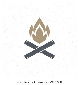 Bonfire flame Design Element in Vintage Style for Logotype, Label, Badge, T-shirts and other design. Campfire retro vector illustration.