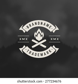 Bonfire flame Design Element in Vintage Style for Logotype, Label, Badge, shirts and other design. Campfire retro vector illustration.
