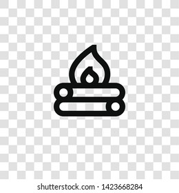 bonfire icon from miscellaneous collection for mobile concept and web apps icon. Transparent outline, thin line bonfire icon for website design and mobile, app development