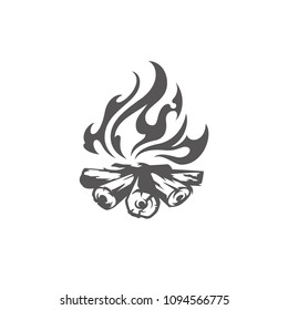 Bonfire isolated on white background vector illustration. Fire burn wooden sticks vector graphic silhouette.