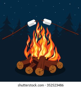 Bonfire with marshmallow - camping, burning woodpile. Vector picture