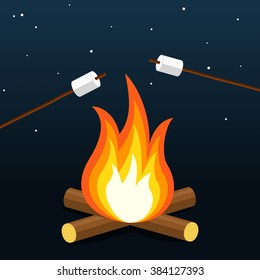 Bonfire with marshmallow. Camping grill marshmallow. Marshmallow outdoor campfire night. Vector Illustration