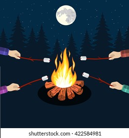 Bonfire with marshmallow, camping grill marshmallow vector illustration. Marshmallow outdoor, campfire night, food marshmallow stick. Vector illustration in flat design.
