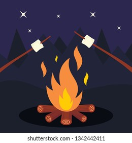 Bonfire and marshmallow on night background. Friends in night camping around bonfire. Marshmallow vector concept