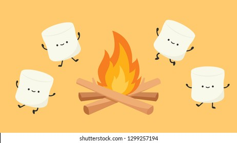 bonfire and marshmallow vector. character design. free space for text.