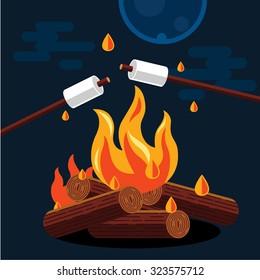 Bonfire with marshmallow. Vector flat illustration