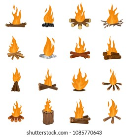 Bonfire night fire icons set. Flat illustration of 16 bonfire night fire vector icons isolated on white
