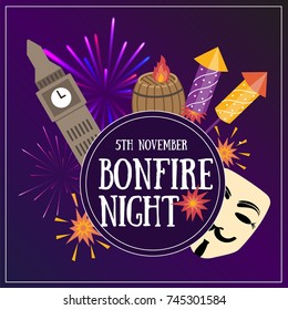 Bonfire night flayer contains the following elements: barrels of gunpowder, bonfire, 3 firecrackers, Guy Fawekes mask, Houses of Parliament, toffee apples