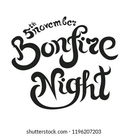 Bonfire Night Invitation lettering Vector Illustration, letters composition
