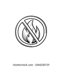 Bonfire prohibited sign hand drawn outline doodle icon. No bonfire sign vector sketch illustration for print, web, mobile and infographics isolated on white background.