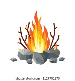 Bonfire, stone, rock, firewood  isolated on white background. Fire flame at night. Scout in forest. Burn gas, wood brunch. Bright light, blaze in camp. Vector flat cartoon design