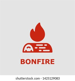 Bonfire symbol. Outline bonfire icon. Bonfire vector illustration for graphic art.