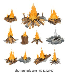 Bonfires isolated vector illustration.