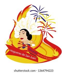 "Bonfires San Juan Alicante. Popular festivities Spain. Translation of the text in the illustration: ""Bonfires of San Juan Alicante from June 20 to 24""."
