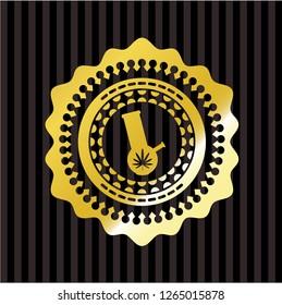 bong of marijuana icon inside gold emblem or badge