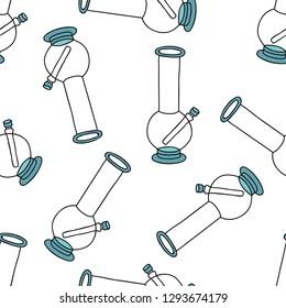 bong for smoking seamless doodle pattern