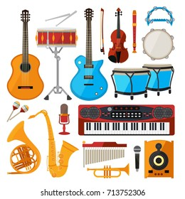 Bongo, drums, guitar and other musical instruments. Vector illustrations in cartoon style. Piano and saxophone, guitar and trumpet