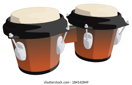 Bongo Drums -  Vector Artwork (isolated on white background).