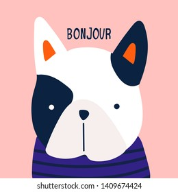 Bonjour. French bulldog. Little puppy with blue striped shirt. Cute funny character. Hand drawn vector greeting card. Colored trendy illustration. Flat design