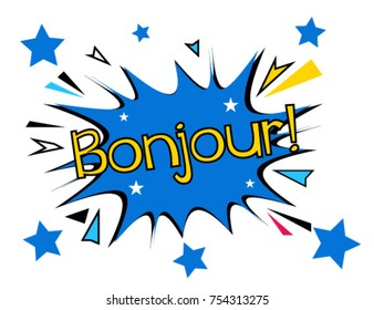 Bonjour has mean hello, Beautiful greeting card poster with comic style