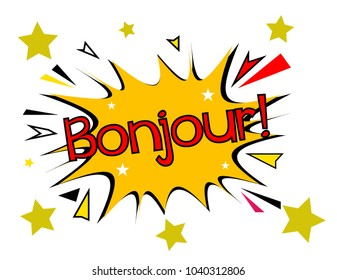 bonjour has mean hello, sign with comic cloud or bubble