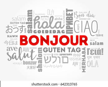 Bonjour (Hello Greeting in French) word cloud in different languages of the world, background concept