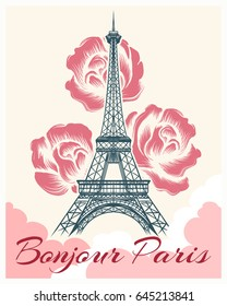 Bonjour or hello Paris retro poster. French spring and summer vector illustration with eiffel tower and flowers for girls fashion design
