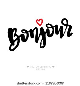 Bonjour lettering phrase with small red heart. Hello in French. Brush illustration. Modern calligraphy quote, isolated on white background.