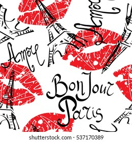 Bonjour Paris. Seamless pattern with original calligraphic fonts, sketch Eiffel Tower and  lips. Abstract  seamless pattern for textile, poster, web .