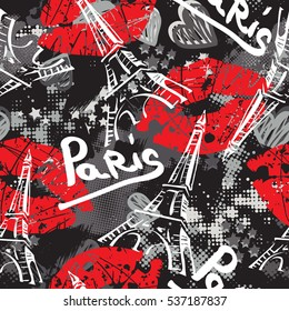 Bonjour Paris. Seamless pattern with original calligraphic fonts, sketch Eiffel Tower and  lips. Abstract  seamless pattern for textile