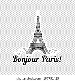 Bonjour Paris, ,vector hand drawing