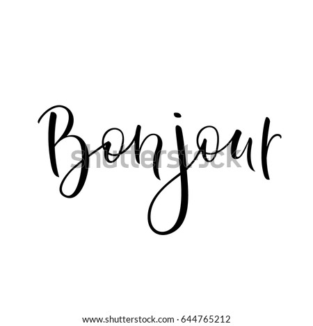 Bonjour Sign Hello Lettering Simple Quote Stock Vector Royalty Free Best Simple Quote