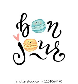 Bonjour slogan vector print with cute macaroons. For t-shirt or other uses,T-shirt graphics / textile graphic. Design element for poster, banner, greeting card