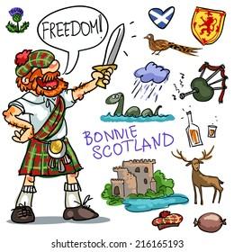 Bonnie Scotland cartoon collection, funny Scottish man with sword