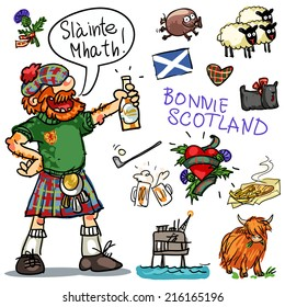 Bonnie Scotland cartoon collection, funny Scottish man with whisky