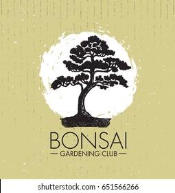 Bonsai Gardening Club Creative Vector Design Concept. Zen Tree Icon Illustration On Rough Background