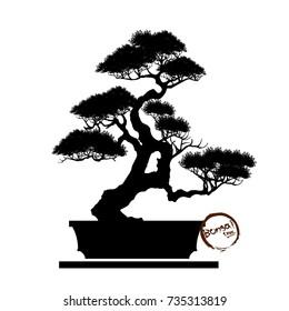 Bonsai tree. Black silhouette of bonsai. Detailed image. Vector illustration.