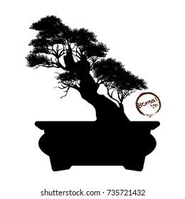 Bonsai tree. Black silhouette of bonsai. Detailed image. Vector illustration