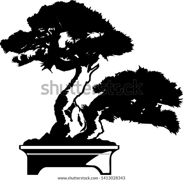 Bonsai Tree Black Silhouette Bonsai Vector Stock Vector Royalty Free 1413028343