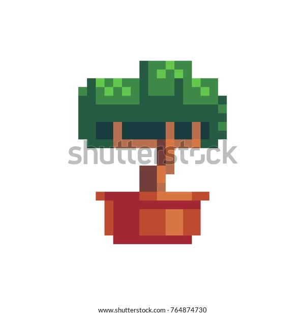 Bonsai tree icon. Knitted design.  Isolated vector illustration. 8-bit sprite.