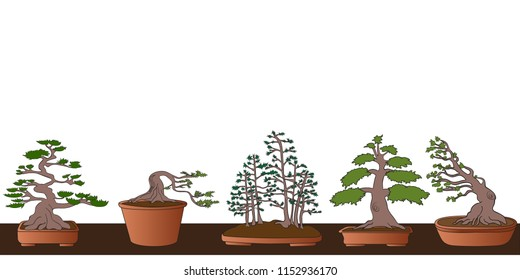 bonsai trees brown green seamless border
