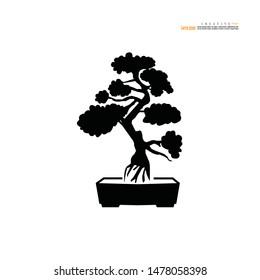 Bonsai.bonsai with pot on white background.vector illustration.