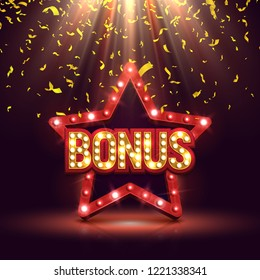 Bonus banner illuminated by spotlights with retro star and falling confetti. Vector illustration.