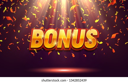 Bonus banner illuminated by spotlights with falling confetti. Vector illustration.
