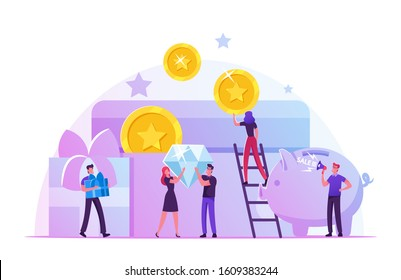 Bonus Card, Loyalty Program, Earn Reward, Redeem Gift, Perks Concept. Tiny Male and Female Characters Holding Huge Golden Coins, Brilliant and Gift Boxes at Piggy Bank. Flat Vector Illustration
