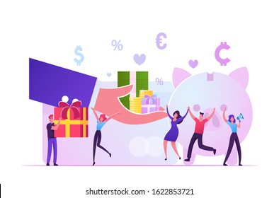 Bonus Card, Loyalty Program, Earn Reward, Redeem Gift, Perks Concept. Huge Hand Giving Gift Boxes to Tiny Male and Female Characters near Piggy Bank with Money Icons. Cartoon Vector Illustration