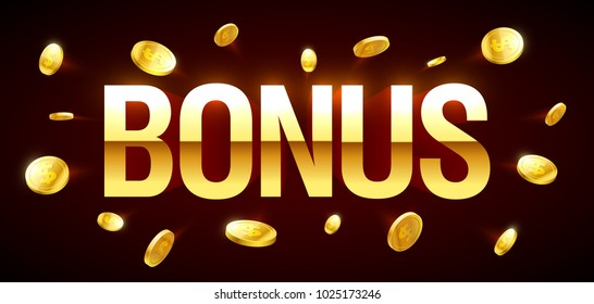 Bonus, gambling games casino banner with Bonus inscription and gold explosion of coins around, vector illustration