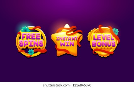 Bonus medals for design project, ui, casino banner. Game vector element. Level bonus cartoon achievement screen game icon. Vector interface GUI, mobile or web game